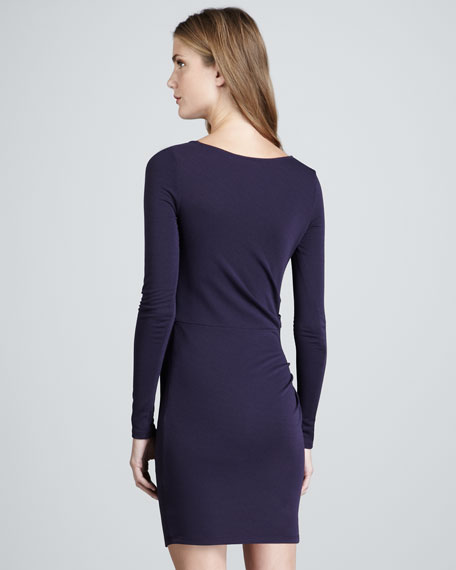 Gathered Long-Sleeve Dress
