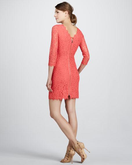 Zarita V'd-Back Lace Dress, Grape Fruit