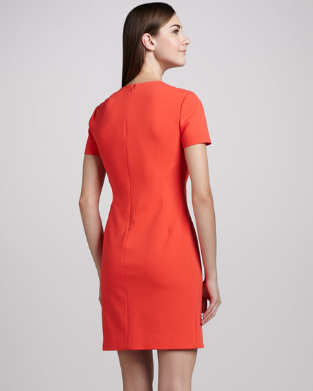 Yazmine Fitted Crepe Dress, Atomic Orange