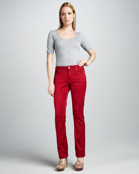 Saddie Straight-Leg Overlace Jeans