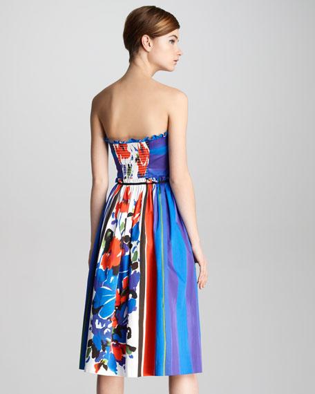Floral-Print Bustier Dress