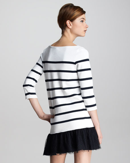 Lace-Hem Striped Knit Dress