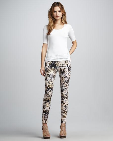 Printed Skinny Ankle Jeans