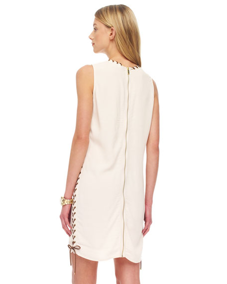 Whipstitch-Trim Crepe Dress