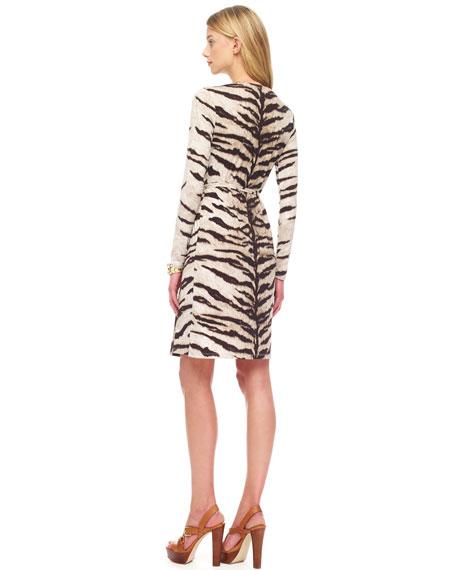 Tiger-Print Wrap Dress