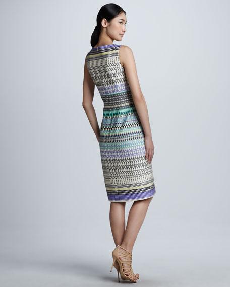 Stripe-Pattern Sleeveless Dress