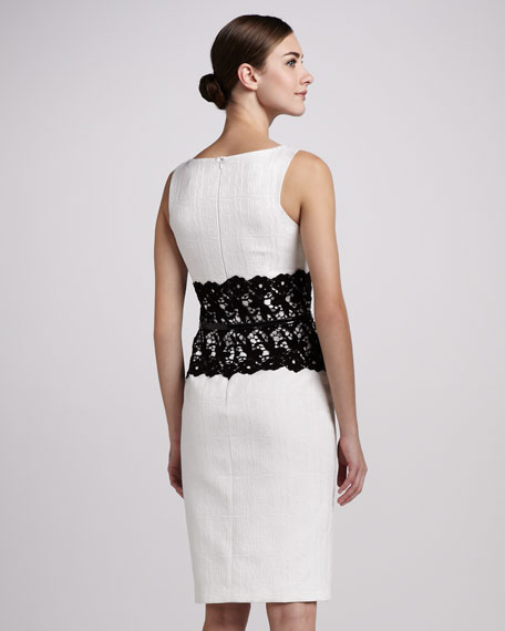 Sleeveless Dress with Lace Waist
