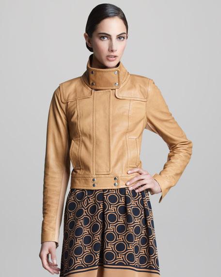 Funnel-Neck Leather Jacket