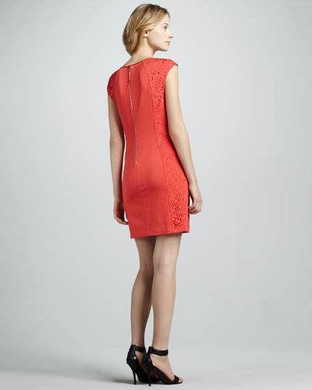 Laser-Cut Cap-Sleeve Dress