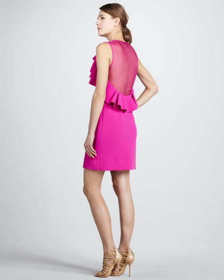 Pandora Ruffled Sheer-Back Dress