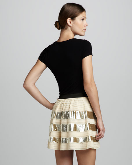 Sequin-Stripe Pleated Skirt