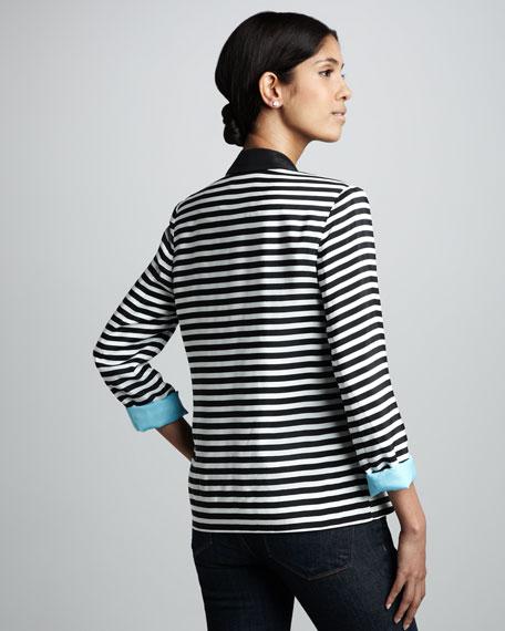 Elyse Striped Contrast-Cuff Blazer