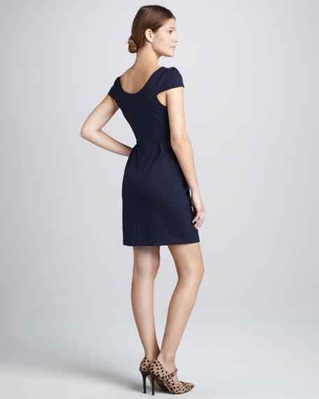 Hillary Pleated-Skirt Ponte Dress