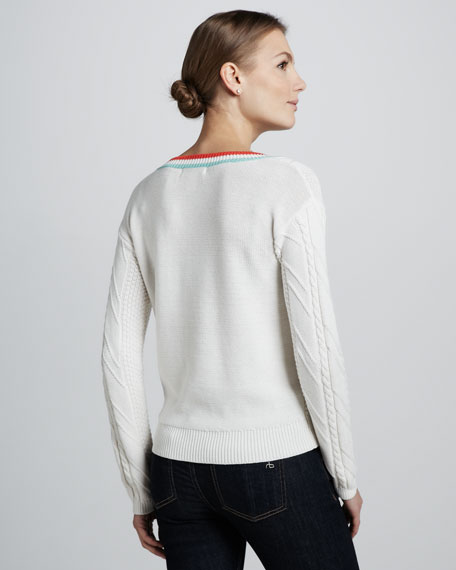 Contrast-Trim Tennis Sweater