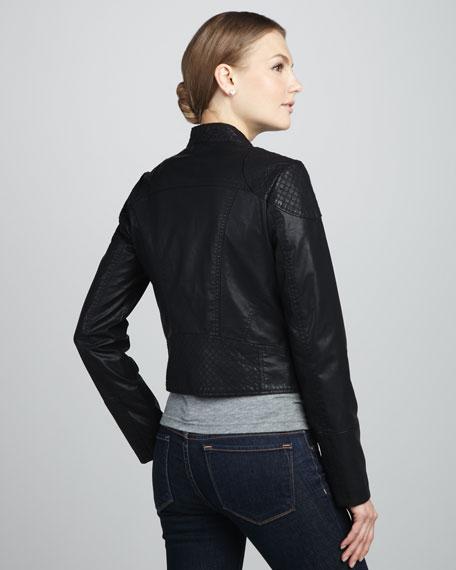 Sunburst Faux-Leather Motorcycle Jacket, Black