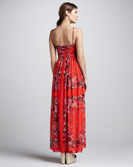 Floral-Print Coverup Maxi Dress