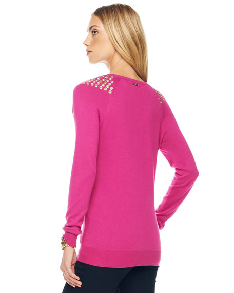 Grommet-Shoulder Sweater, Women's