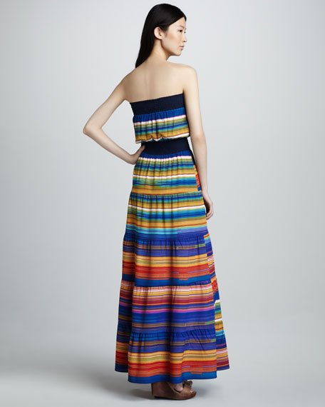 Striped Strapless Maxi Dress