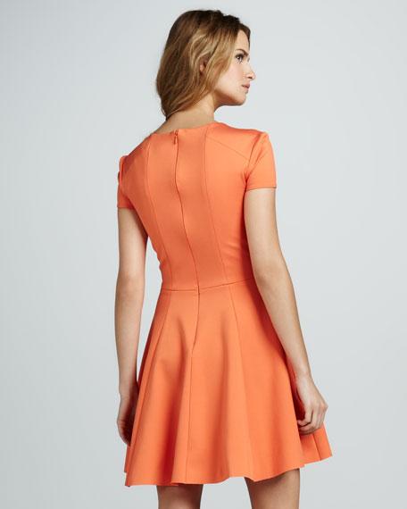 Cross-Neck Short-Sleeve Dress