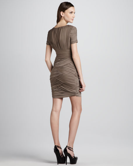 Ruched Crisscross Dress, Taupe