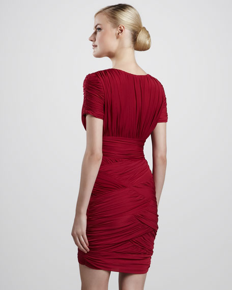 Ruched Crisscross Dress, Raspberry