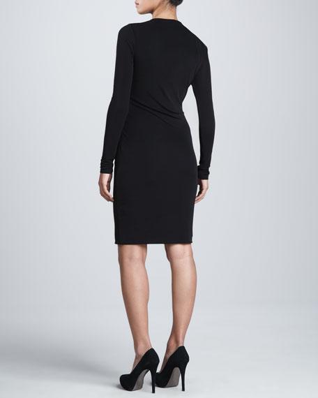 Long-Sleeve Faux Wrap Dress