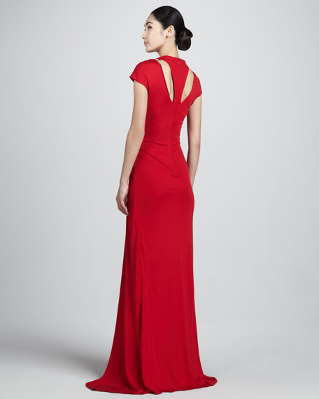 Bead-Neck Jersey Gown