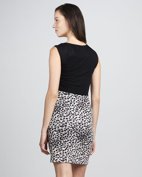 Leopard-Print Fitted Dress