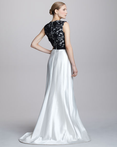 Two-Tone Lace-Top Gown