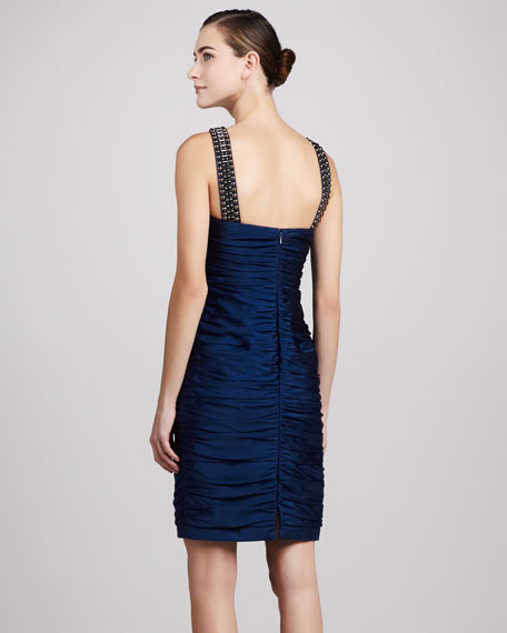 Bead-Neck Ruched Cocktail Dress