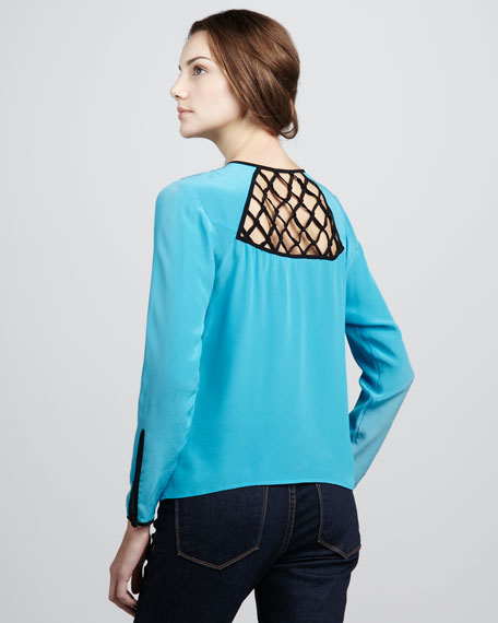 Cutout-Top Silk Blouse