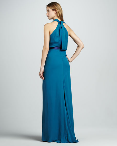 Layered Two-Tone Halter Gown