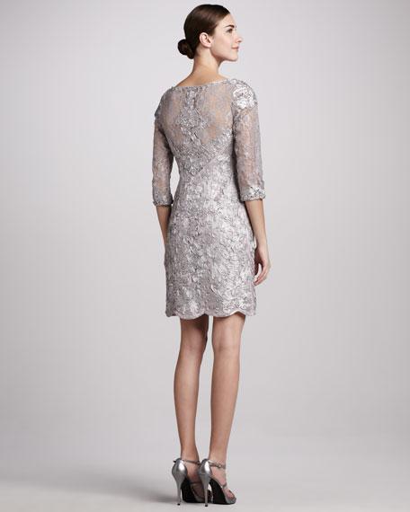 Three-Quarter-Sleeve Embellished Cocktail Dress