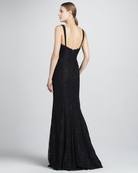 Lace Gown with Cotour Panels