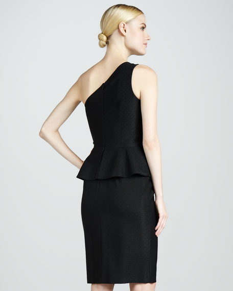 One-Shoulder Peplum Cocktail Dress