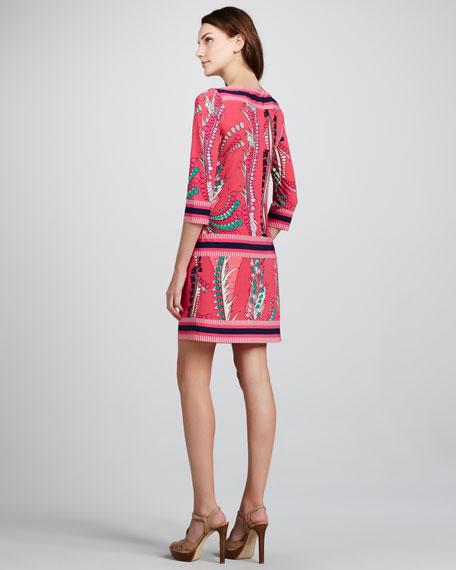Printed Dropped-Waist Dress