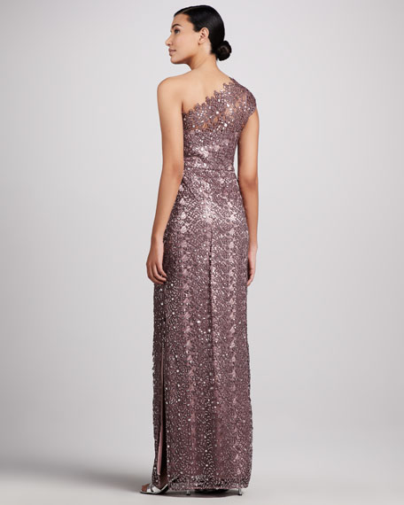 One-Shoulder Sequined & Lace Gown