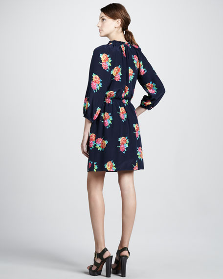 Floral-Print Silk Shirtdress