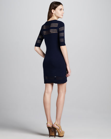 Cutout-Stripe Dress, Navy