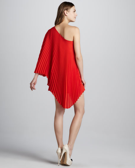 Nicola Pleated One-Shoulder Dress