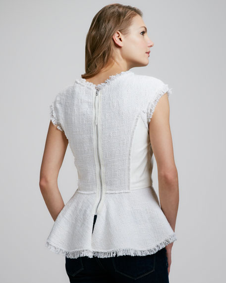 Leather-Panel Tweed Peplum Top