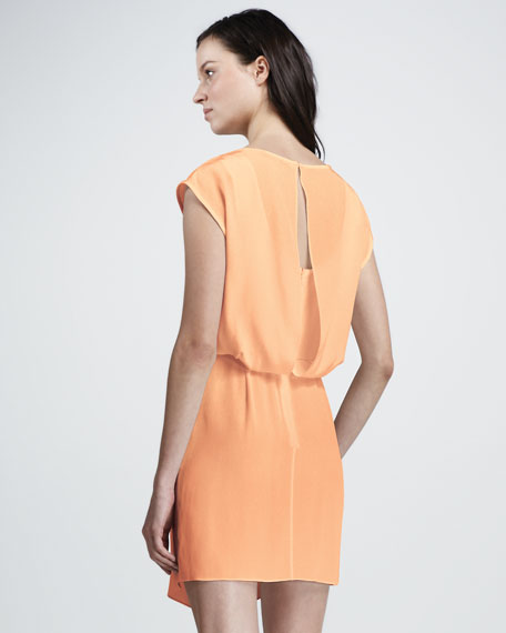 Cap-Sleeve Asymmetric Silk Dress