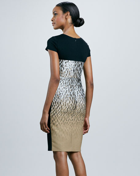 Leopard-Print Block Sheath Dress