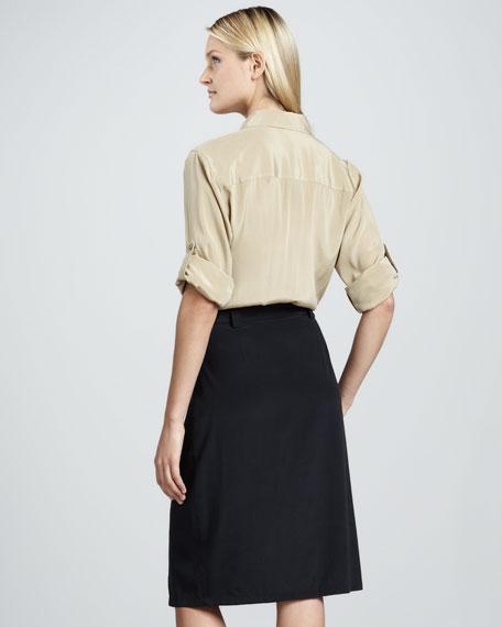 Long-Sleeve Belted Shirt Dress