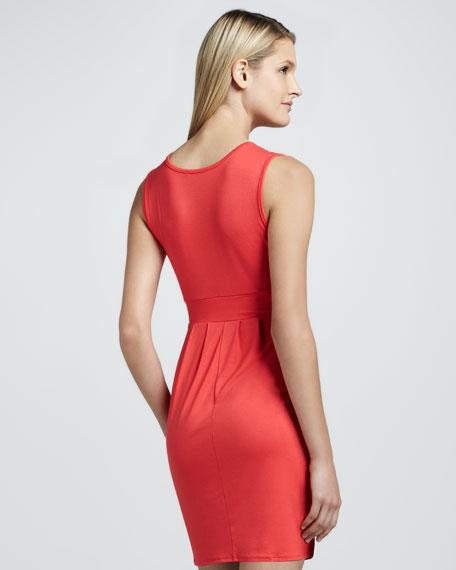 V-Neck Pleated Dress