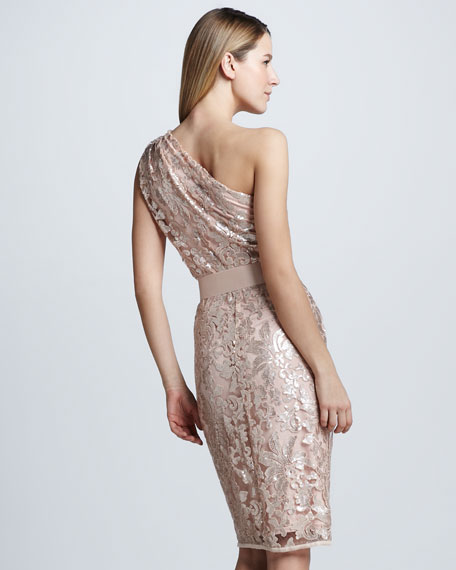 Sequined Lace One-Shoulder Cocktail Dress