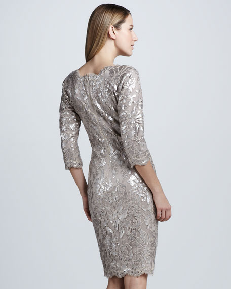 Three-Quarter Sequined Lace Cocktail Dress