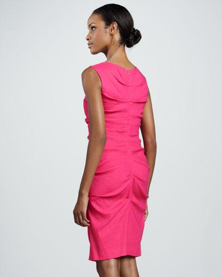 Ruched Linen-Blend Sheath Dress