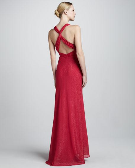 Metallic Brushstroke V-Neck Gown
