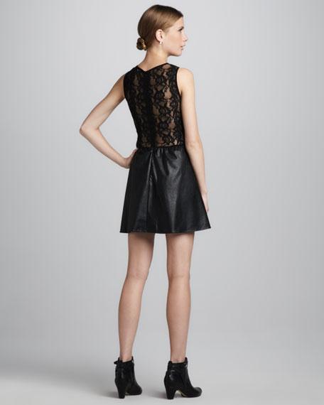 Lulu Faux-Leather/Lace Dress